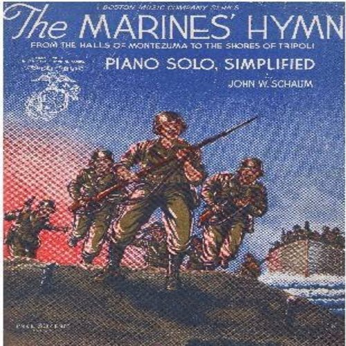 Marine's Hymn - The Marines Hymn - From The Halls Of Montezuma To The Shores Of Tripoli - Vintage SHEET MUSIC Piano Solo Simplified (this is SHEET MUSIC, not any other kind of media!) - VG7/ - Sheet Music