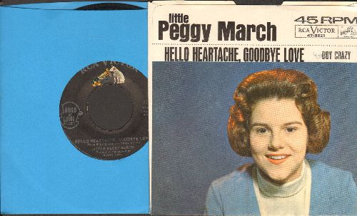 March, Little Peggy - Hello Heartache, Goodbye Love/Boy Crazy (with picture sleeve) - NM9/EX8 - 45 rpm Records