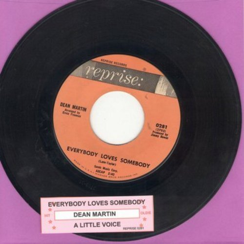Martin, Dean - Everybody Loves Somebody/A Little Voice (with juke box label) - EX8/ - 45 rpm Records