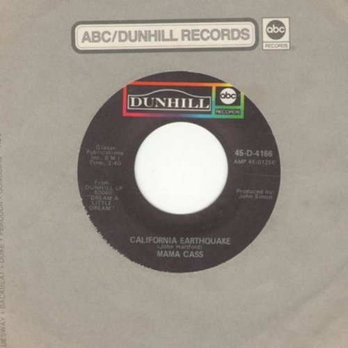 Mama Cass - California Earthquake/Talkin' To Your Toothbrush (with Dunhill company sleeve) - EX8/ - 45 rpm Records