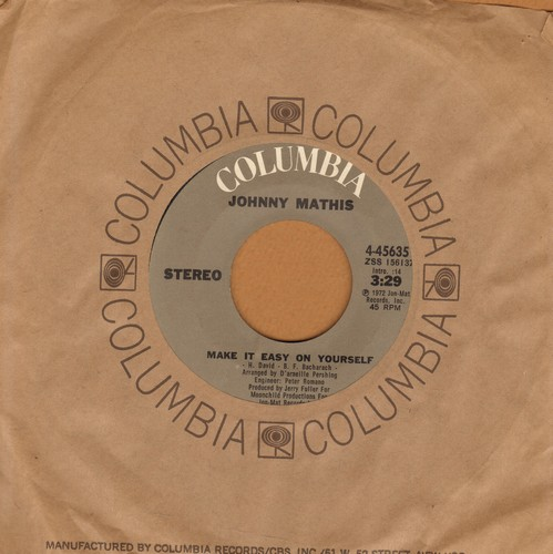 Mathis, Johnny - Make It Easy On Yourself/Sometimes (with Columbia company sleeve) - NM9/ - 45 rpm Records