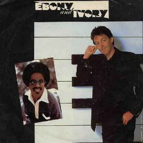 McCartney, Paul & Stevie Wonder - Ebony & Ivory/Rainclouds (with picture sleeve) - EX8/VG7 - 45 rpm Records
