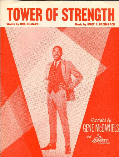 McDaniels, Gene - Tower Of Strength - RARE vintage SHEET MUSIC for the R&B song made popular by Gene McDaniels - NICE cover art featuring the singer! - NM9/ - Sheet Music