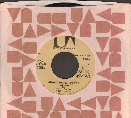 McLean, Don - American Pie (Bye Bye Miss American Pie) (Parts 1+2) (PARTY SING-ALONG FAVORITE! - with United Artists company sleeve) - EX8/ - 45 rpm Records