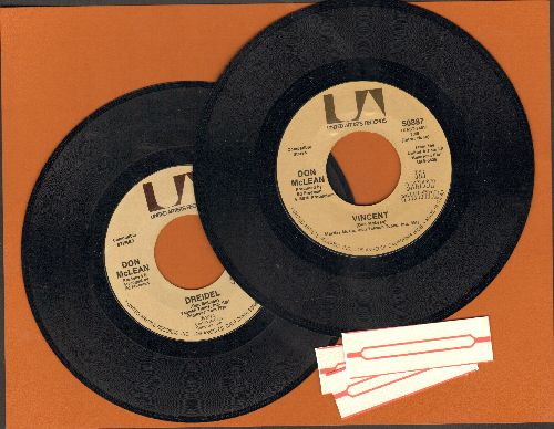 McLean, Don - 2 for 1 Special: Vincent/Dreidel (2 vintage first issue 45rpm records for the price of 1!) - NM9/ - 45 rpm Records