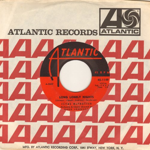 McPhatter, Clyde - Long Lonely Nights/Heartaches (with Atlantic  company sleeve) - VG7/ - 45 rpm Records