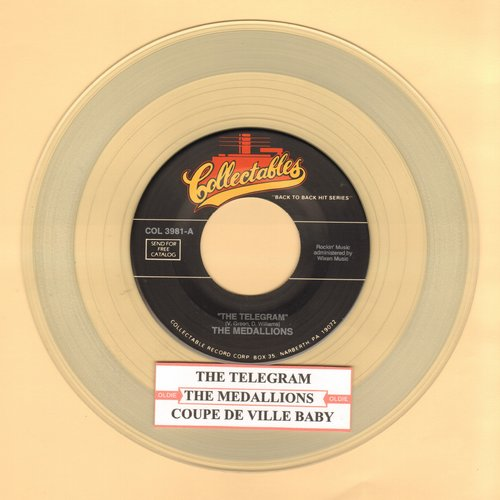 Medallions - The Telegram/Coupe De Ville Baby (CLEAR Vinyl re-issue with juke box label) - M10/ - 45 rpm Records