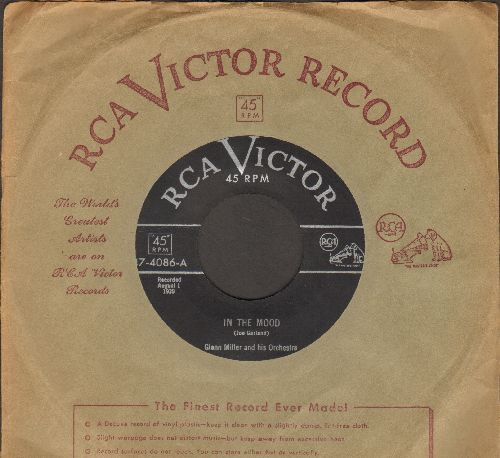 Miller, Glenn & His Orchestra - In The Mood (ALL-TIME #1 BIG BAND TUNE!)/A String Of Pearls (1950s issue of vintage recordings with vintage RCA company sleeve) - EX8/ - 45 rpm Records