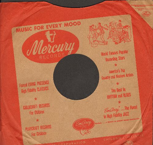 Company Sleeves - 10 inch vintage Mercury company sleeve (exactly as pictured), shipped in 10 inch clear plastic sleeve. Enhances and protects you collectable 10 inch 78 rpm record! DUE TO POST OFFICE REGULATIONS THIS ITEM CAN ONLY BE SENT PRIORITY MAIL.
