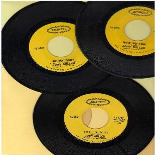 Miller, Jody - Jody Miller's FANTASTIC 1960s Girl-Sound 3-Pack - 3 vintage 45rpm records in excellent condition! Hit titles include Be My Baby, Baby I'm Your's and He's So Fine. Great for a juke box or to add to a collection. - EX8/ - 45 rpm Records