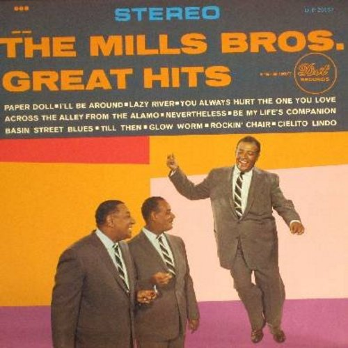 Mills Brothers - The Mills Brothers' Great Hits: Paper Doll, You Always Hurt The One You Love, Glow Worm, Rockin' Chair, Till Then (vinyl STEREO LP record, 1970s issue, NICE condition!) - EX8/VG6 - LP Records