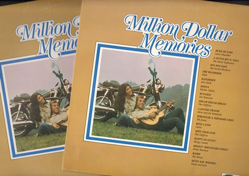 Chandler, Gene, Carlo, Chiffons, Ernie Maresca, others - Million Dollar Memories Vol 1 + 2: Duke Of Earl, Donna, Runaway, He's So Fine, Raindrops, Leader Of The Pack (2 vinyl LP records featuring original his by original artists) - M10/NM9 - LP Records