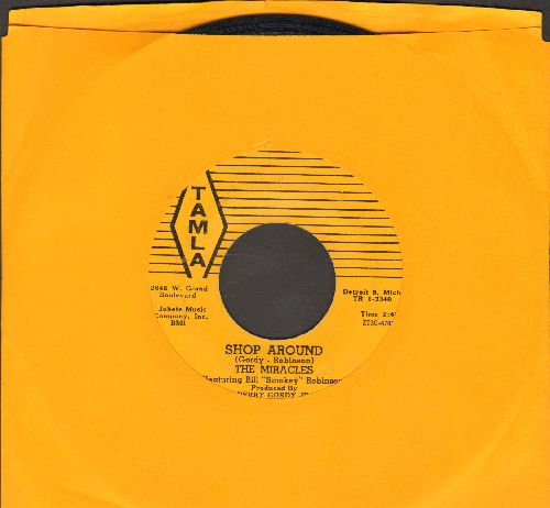 Miracles - Shop Around/Who's Lovin You (early pressing on yellow label, logo in brackets on left) - EX8/ - 45 rpm Records