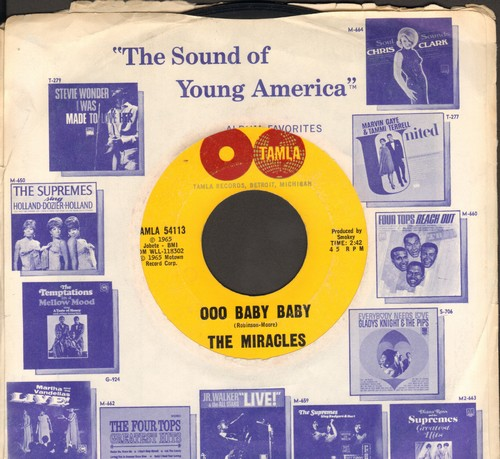 Miracles - Ooo Baby Baby/All That's Good (double-globe label with vintage Motown company sleeve) - EX8/ - 45 rpm Records