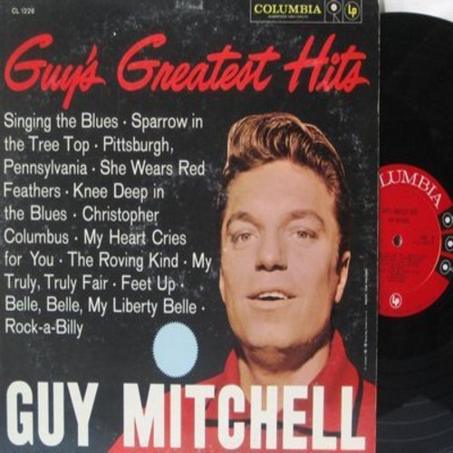 Mitchell, Guy - Guy's Greatest Hits: Singing The Blues, Rock-A-Billy, Sparrow In The Tree Top, The Roving Kind (vinyl MONO LP record) - EX8/VG7 - LP Records