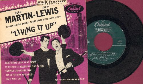 Martin, Dean & Jerry Lewis - Living It Up: Money Burns A Hole In My Pocket/How Do You Speak To An Angel?/Champagne And Wedding Cake + 2 (RARE 7 inch EP record with picture cover, vinyl FAIR, still VERY RARE!) - G4/EX8 - 45 rpm Records