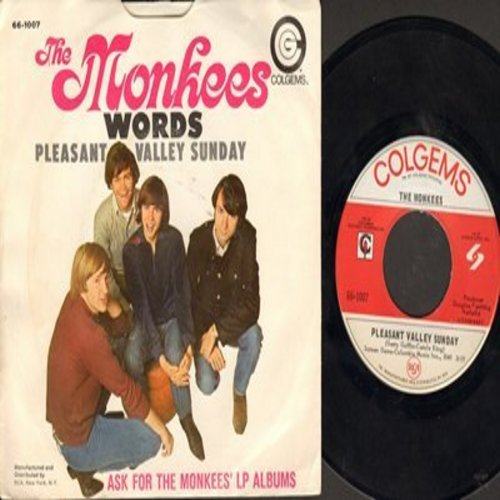 Monkees - Pleasant Valley Sunday/Words (with picture sleeve) - EX8/VG7 - 45 rpm Records