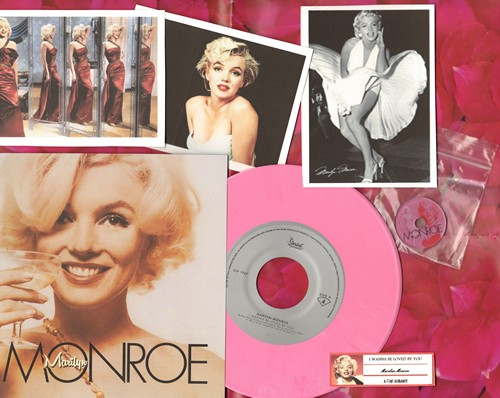 Monroe, Marilyn - I Wanna Be Loved By You/A Fine Romance  (LIMITED EDITION 7 inch 33rpm PINK VINYL pressing with picture sleeve, juke box label, BONUS Marilyn Monroe COLLECTIBLE spindle adapter! Suitable for framing!) - M10/M10 - 45 rpm Records