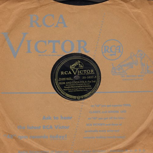 Norton Sisters & Rosemary Calvin with Vaughn Monroe & His Orchestra - Rum And Coca Cola/There! I've Said It Again (vintage 10 inch 78rpm record with RCA company sleeve) - VG7/ - 78 rpm