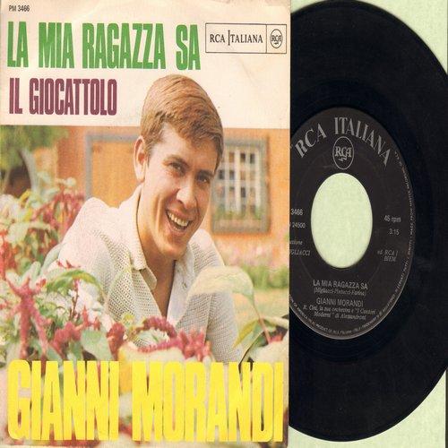 Morandi, Gianni - La Mia Ragazza Sa/Il Giocattolo (Italian Pressing with picture sleeve, sung in Italian) - EX8/EX8 - 45 rpm Records
