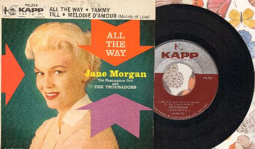 Morgan, Jane - All The Way/Tammy/Till/Melodie D'amour (vinyl EP record with picture cover) - NM9/EX8 - 45 rpm Records