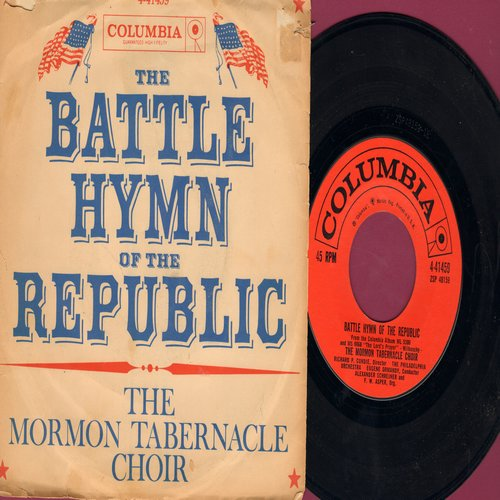 Mormon Tabernacle Choir - Battle Hymn Of The Republic/The Lord's Prayer (with picture sleeve, song lyrics on back of sleeve) - NM9/VG6 - 45 rpm Records