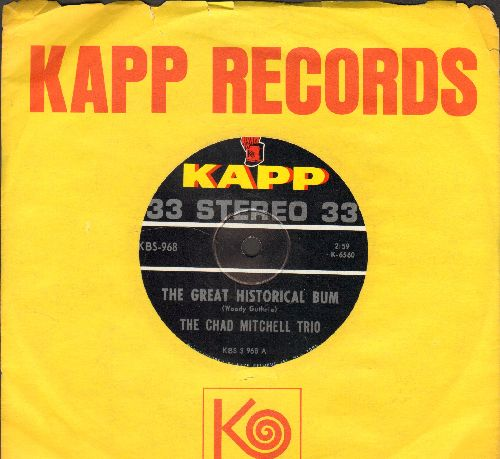 Mitchell, Chad Trio - The Great Historical Bum/The Unfortunate Man (7 inch 33rpm STEREO record with Kapp company sleeve, small spindle hole) - NM9/ - LP Records