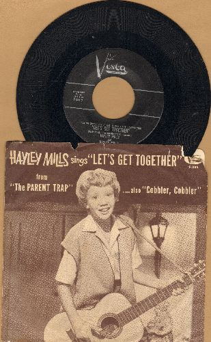 Mills, Hayley - Let's Get Together/Cobbler Cobbler (with RARE picture sleeve and juke box label) - EX8/VG6 - 45 rpm Records