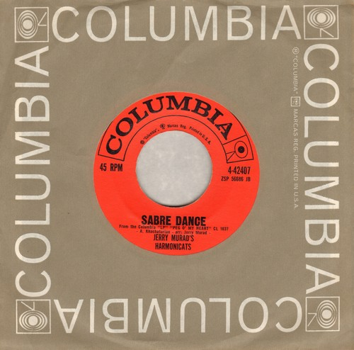 Murad, Jerry Harmonicats - Sabre Dance/Ruby (with vintage Columbia company sleeve) - EX8/ - 45 rpm Records