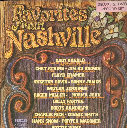 Arnold, Eddy, Dolly Parton, Skeeter Davis, Hank Snow, others - Favorites From Nashville: Heartaches By The Number, D-I-V-O-R-C-E, Blueberry Hill, Green Green Grass Of Home (2 vinyl STEREO LP records, gate-fold cover) - NM9/EX8 - LP Records