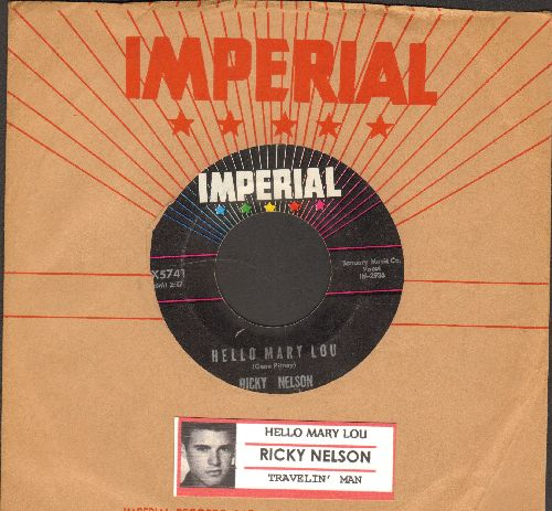 Nelson, Rick - Hello Mary Lou/Travelin' Man (with juke box label and vintage Imperial company sleeve) - VG7/ - 45 rpm Records