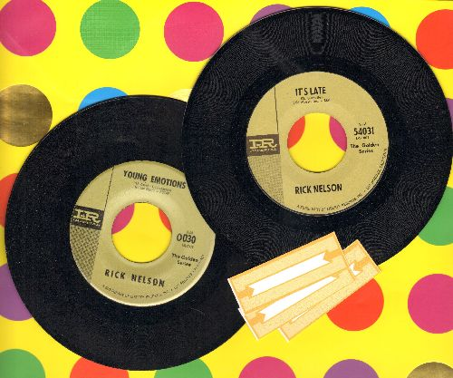 Nelson, Rick - 2 early double-hit reissues for the price of 1! Featuring hits It's Late/Never Be Anyone Else But You/Young Emotions/That's All. GREAT for a juke box! - NM9/ - 45 rpm Records