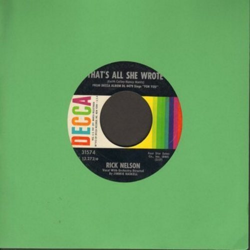 Nelson, Rick - That's All She Wrote/For You - NM9/ - 45 rpm Records