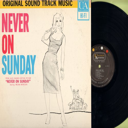 Mercouri, Melina - Never On Sunday - Original Motion Picture Sound Track - includes the title song by Melina Mercouri (vinyl MONO LP record) - NM9/VG7 - LP Records