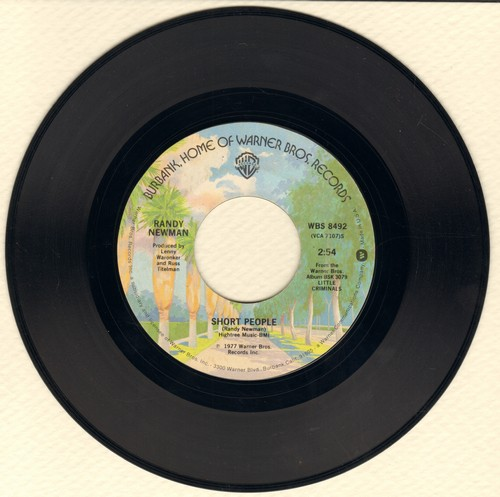Newman, Randy - Short People/Old Man On The Farm (novelty record that inspired a short-lived class-action law suit by a group of insulted height-challenged Americans)  - VG7/ - 45 rpm Records