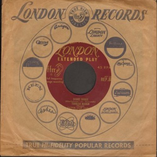 New Promenade Orchestra, Victor Olof conducting - Sabre Dance/Turkish March/Berceuse De Jocelyn/Hungarian Dance No. 5 (vinyl EP record with vintage London company sleeve) - EX8/ - 45 rpm Records