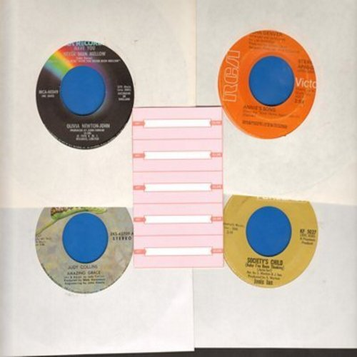 Collins, Judy, John Denver, Janis Ian, Olivia Newton-John - Set of 4 first issue 45s with 5 blank juke box labels, exactly as pictured. NICE set of Folk/Easy Listening Hits for a juke box or to add to your collection. Shipped in plain white sleeves. - EX8