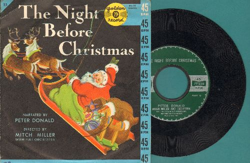 Donald, Peter - The Night Before Christmas (Narrated by Peter Donald, with picture cover) - NM9/EX8 - 45 rpm Records