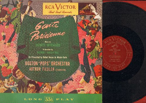 Boston Pops Orchestra, Arthur Fiedler Conductor - Gaite Parisienne - Music by Jaques Offenbach, Orchestrated by Manuel Rosenthal, As Performed by Ballet Russe de Monte Carlo (RARE 1950 Red Seal Pressing) - EX8/VG7 - LP Records