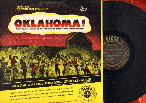 Oklahoma! - Oklahoma! - Original Cast Recording, includes title song, Oh What A Beautiful Morning, I Cain't Say No, People Will Say We're In Love, All Er Nothin', more! (vinyl MONO LP record, RARE first pressing) - NM9/EX8 - LP Records