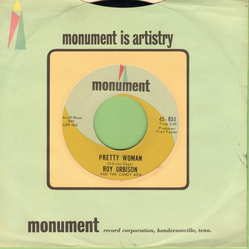 Orbison, Roy - Pretty Woman/Yo Te Amo Maria (RARE early issue, PRETTY WOMAN without -OH- in Title! - with Monument company sleeve) - EX8/ - 45 rpm Records