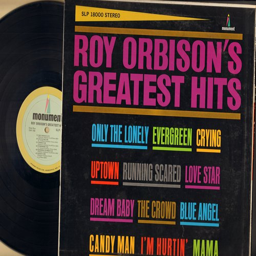 Orbison, Roy - Roy Orbison's Greatest Hits: Crying, Only The Lonely, Uptown, Running Scared, Blue Angel, Candy Man, I'm Hurtin', Dream Baby (vinyl STEREO LP record) - EX8/VG7 - LP Records
