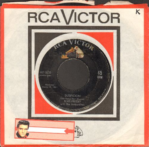 Presley, Elvis - Suspicion/Kiss Me Quick (first issue with RCA company sleeve) - VG6/ - 45 rpm Records