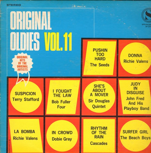 Seeds, Richie Valens, Cascades, Beach Boys, others - Original Oldies Vol. 11: Pushin Too Hard, Donna, Judy In Disguise, Surfer Girl, Suspicion, Rhythm Of The Rain (vinyl STEREO LP record) - VG7/VG6 - LP Records