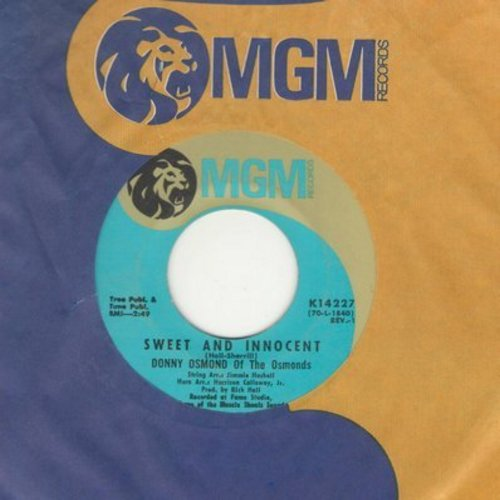 Osmond, Donny - Sweet And Innocent/Flirtin' (with MGM company sleeve) - EX8/ - 45 rpm Records
