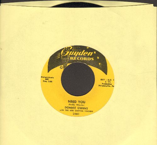 Owens, Donnie - Need You/If I'm Wrong  - NM9/ - 45 rpm Records