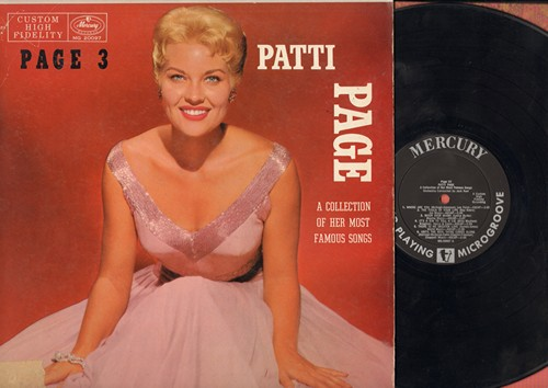 Page, Patti - Page 3: Where Or When, These Foolish Things, Moon Over Miami, Blue Hawaii, They Can't Take That Away From Me (vinyl MONO LP record) - EX8/EX8 - LP Records