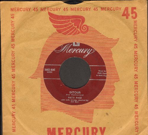 Page, Patti - Detour/Who's Gonna Shoe My Pretty Little Feet (with vintage Mercury company sleeve) - EX8/ - 45 rpm Records