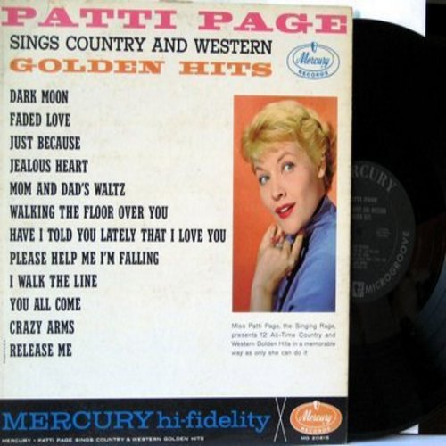 Page, Patti - Patti Page Sings Country And Western Golden Hits: Jealous Heart, Dark Moon, I Walk The Line, Release Me, Dark Moon (vinyl MONO LP record) - VG7/VG7 - LP Records