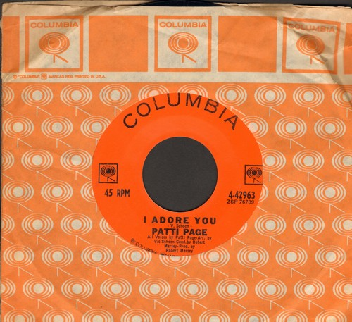 Page, Patti - I Adore You/I Wonder, I Wonder, I Wonder (with Columbia company sleeve) - NM9/ - 45 rpm Records